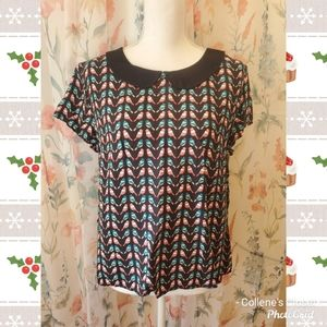Divided Red Blue Bird Top Size 12